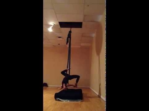 beginner aerial silk hammock practice on 2/25/14