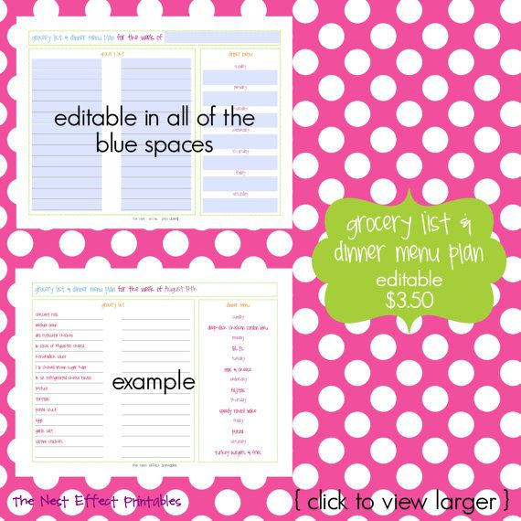 grocery list and dinner menu plan EDITABLE \/ by thenesteffect - example grocery list