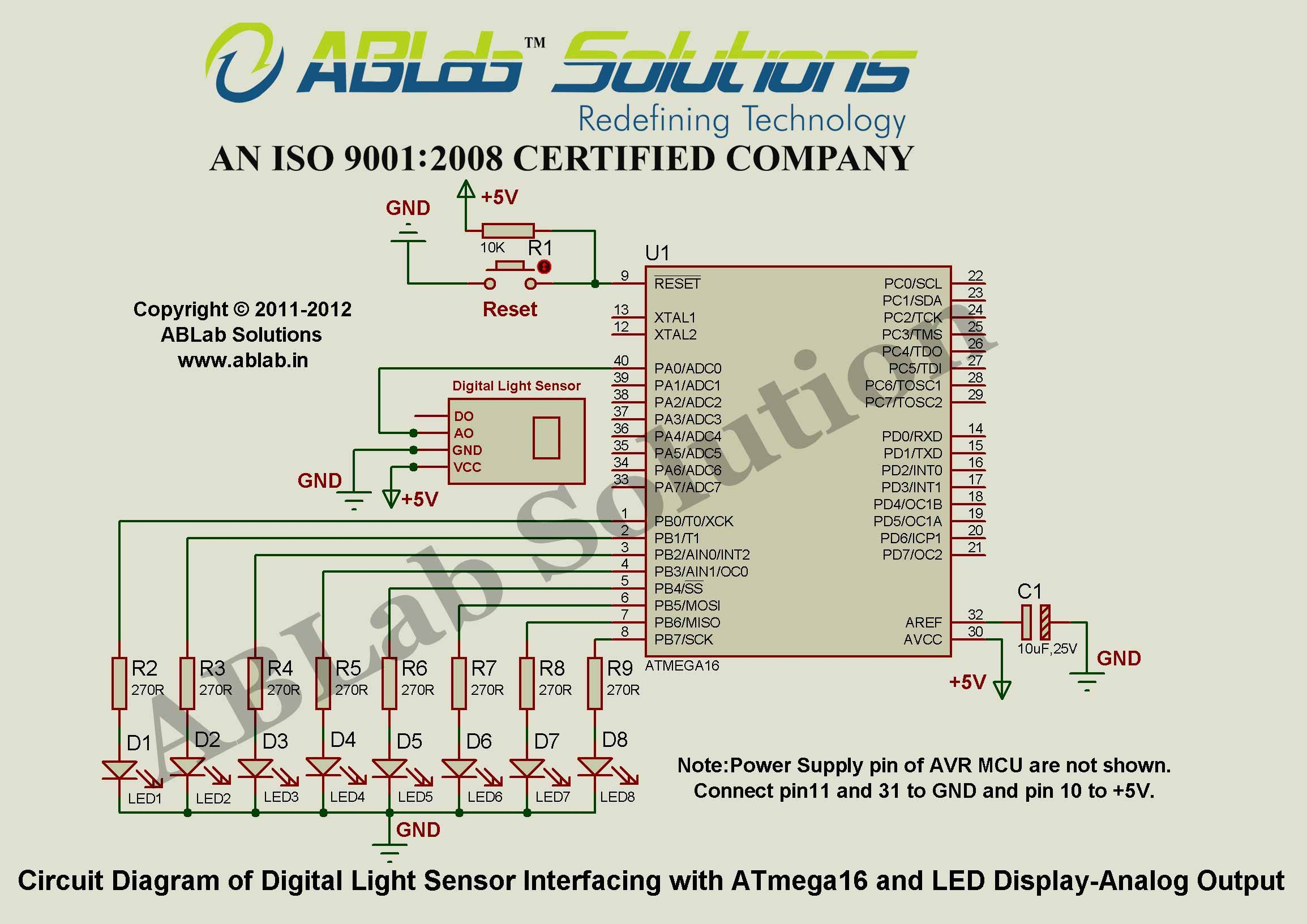 Digital Light Sensor Interfacing With Avr Atmega16 Microcontroller Analoglinefollowercircuitjpg And Led Display Analog Output Circuit Diagram Ablab Solutions