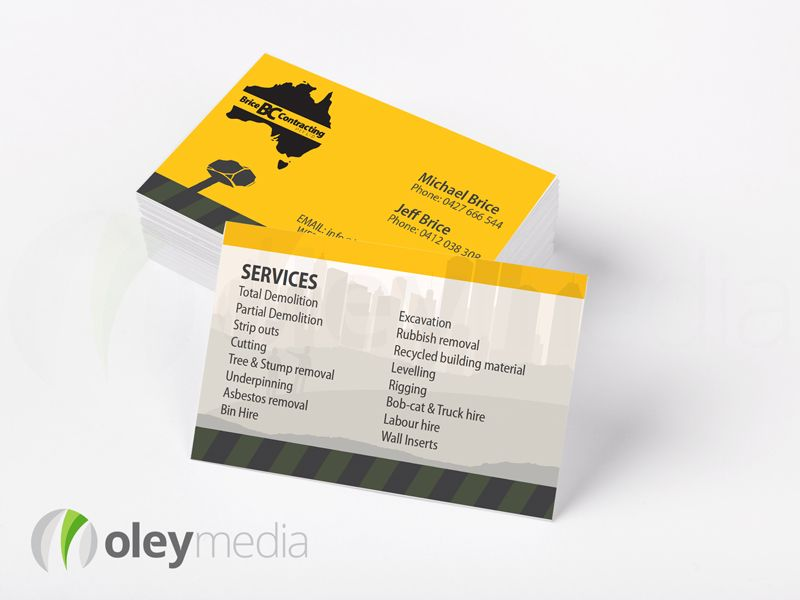 Brice Contracting | Business Card Design Melbourne | Business Card ...