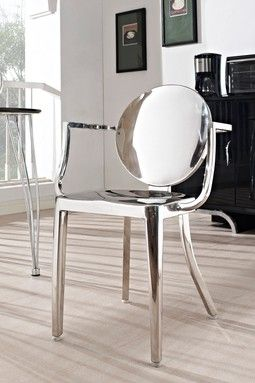 Casper Polished Stainless Steel Armchair   Silver
