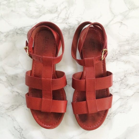 Jcrew red leather gladiator ankle buckle sandal Jcrew red leather gladiator ankle buckle sandal. Worn about 10 times. In excellent condition. No rips, scratches, etc. J. Crew Shoes Sandals