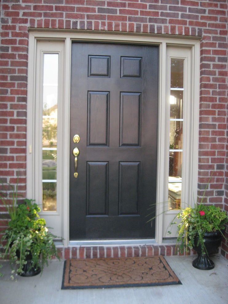 Black front door with white sidelights ideas for the house painted front doors front door for Black exterior door with sidelights