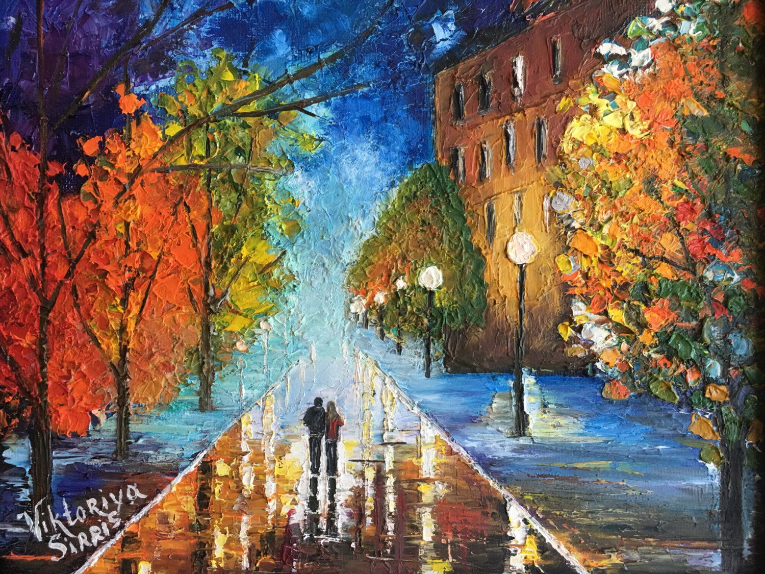 Oil pallet knife painting,