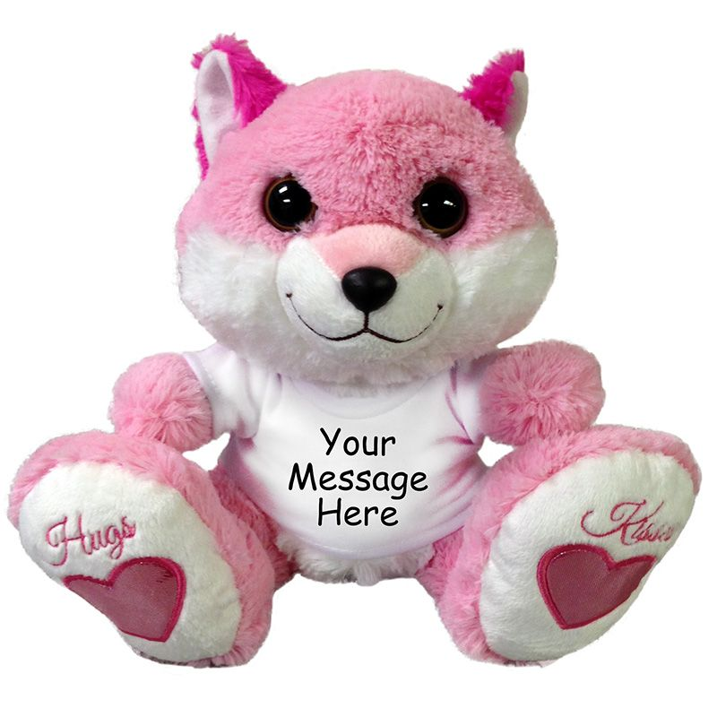 Personalized Stuffed Fox - Aurora Plush Taddle Toes Pink Smitten foxey