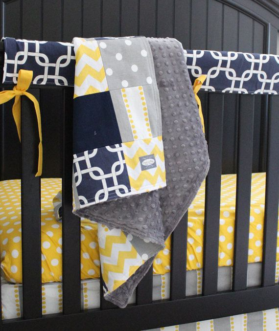Custom Baby Bedding Navy Blue Yellow And Grey By Gigglesixbaby