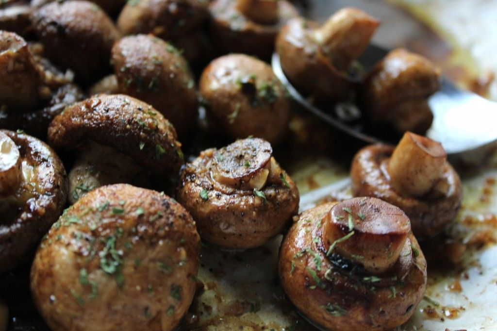 Delicious Oven Roasted Mushrooms. (Make an extra pound for yourself.)