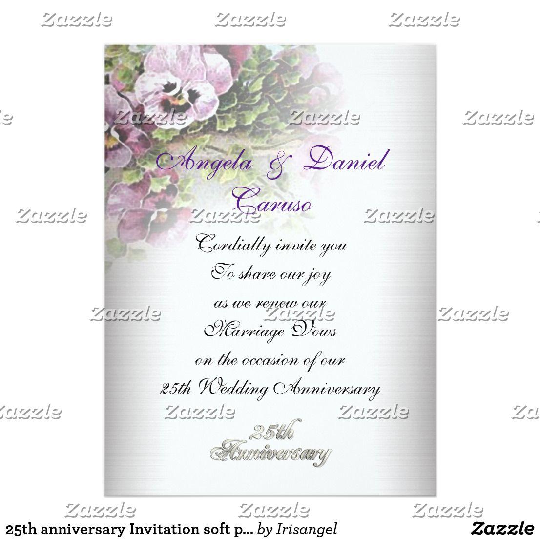 25th anniversary Invitation soft pansies | Anniversary invitations