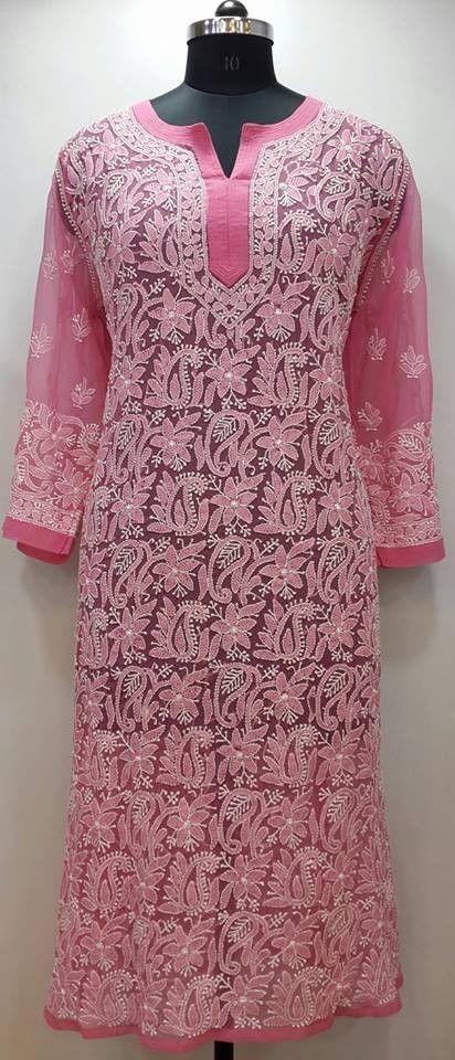 Lucknow Chikan Online Kurti Pink Faux Georgette 65
