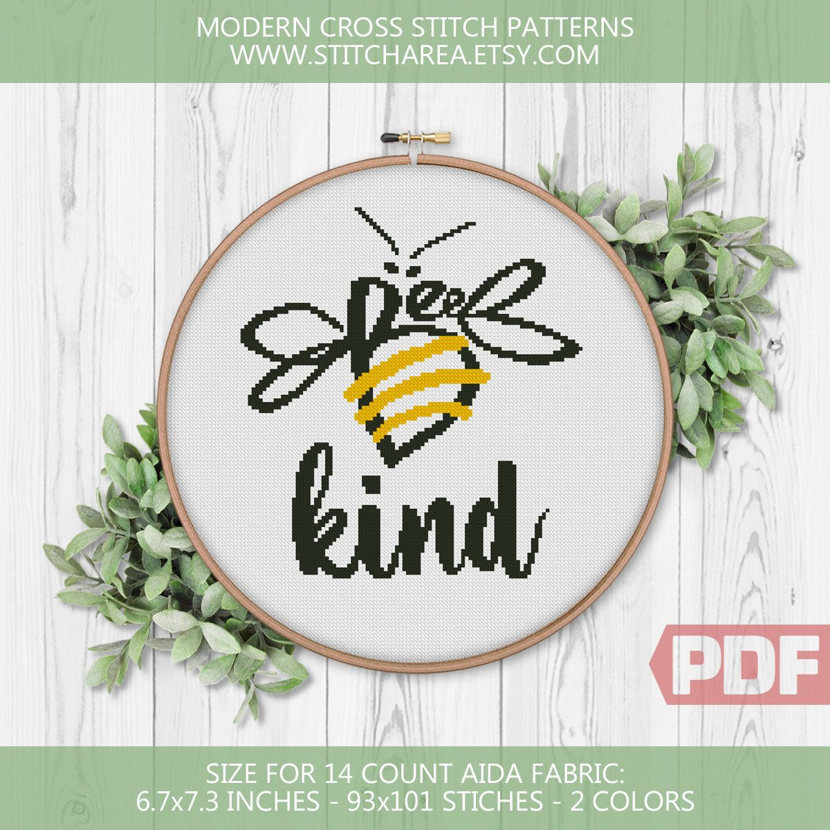 Bee Kind, Cross Stitch Pattern, Cute Bumble Bee, Honey Funny Nature Bug Animal, Modern Art Fan Decor
