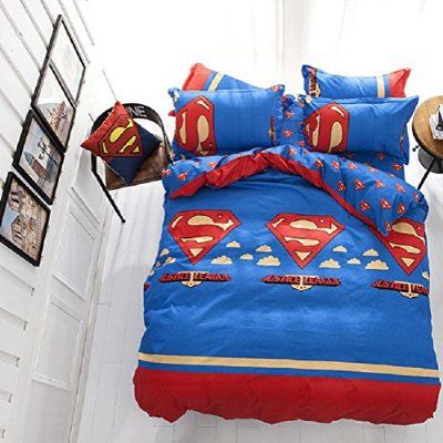 Emailren Polyester Microfiber Duvet Cover Sets Superman Pattern
