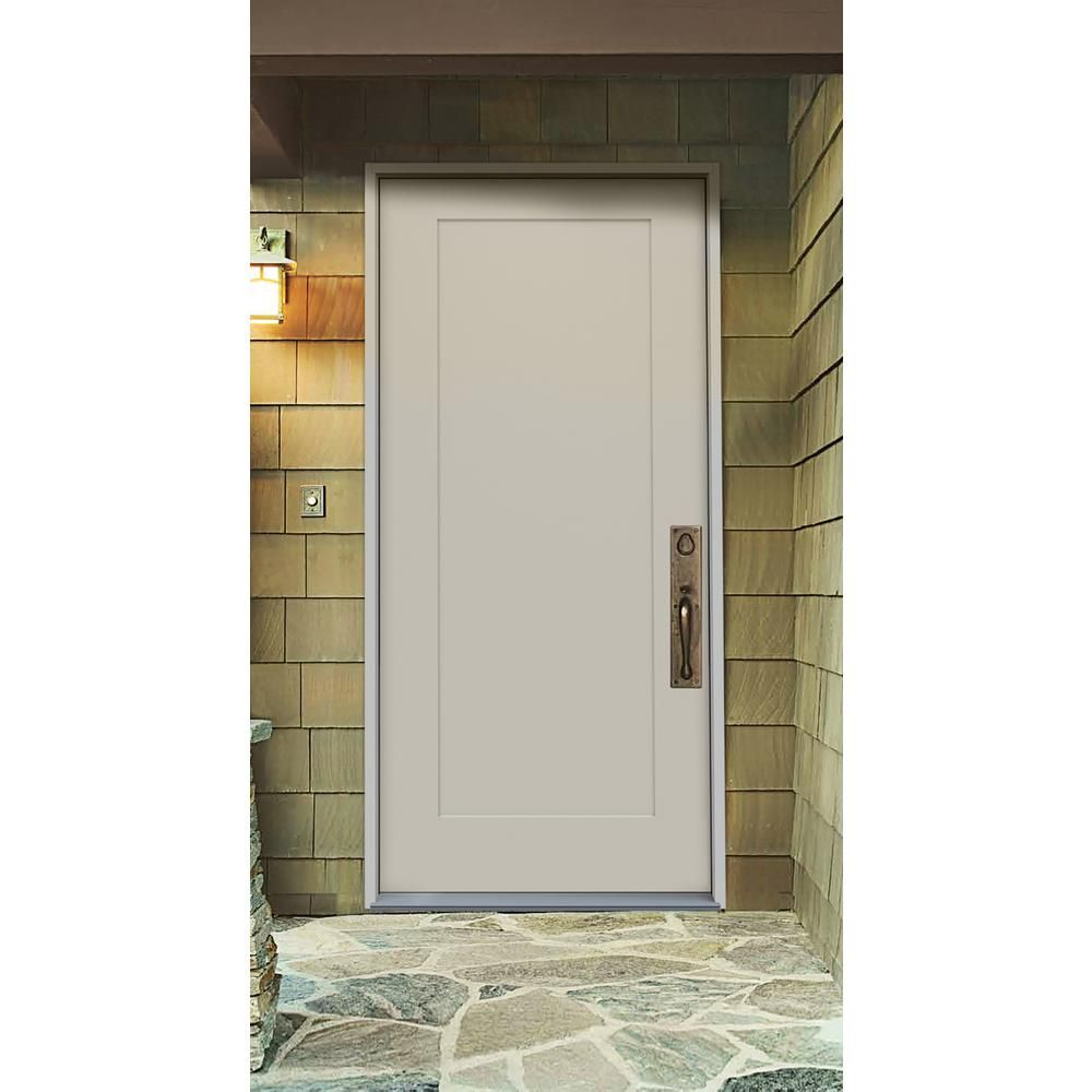 Jeld Wen 36 In X 80 In 1 Panel Craftsman Primed Steel Prehung Left Hand Inswing Front Door Thdjw166100374 The Home Depot In 2020 Steel Front Door Contemporary Front Doors Front Door