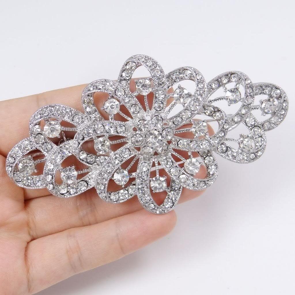 Noble Red Large Flower Bridal Brooch Crystal Rhinestone Wedding Prom Broach Pin