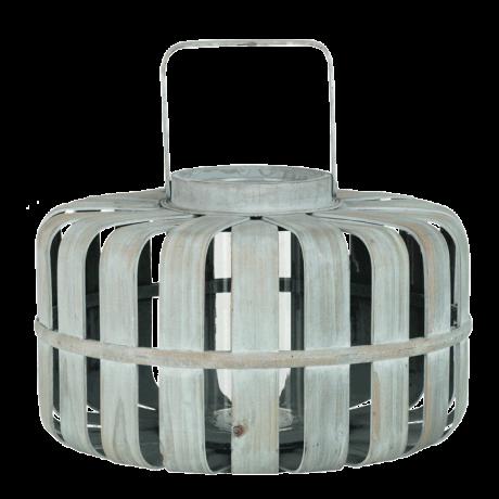 Lanterne bois gris antique clair GM