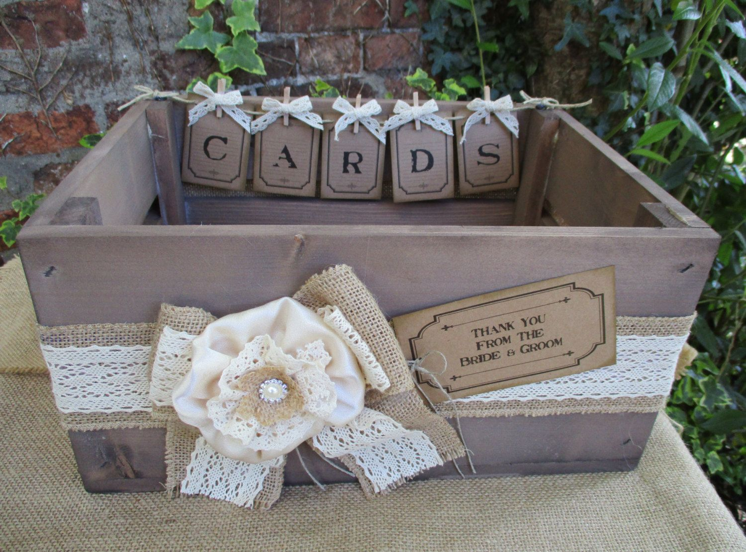 Apple Crate Handmade Bunting Vintage Style Wedding Card Post Box  - Wooden Apple Crate - Bushel Crate by TheIvoryBow on Etsy