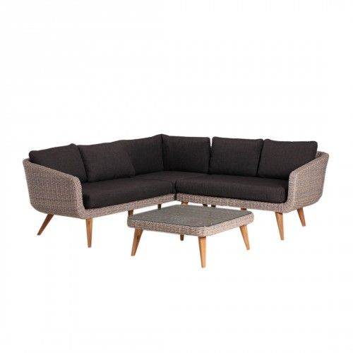 Inspirational OUTLIV Mira Loungeset teilig Akazie Geflecht Rattan Mixed Brown Kissen Royal