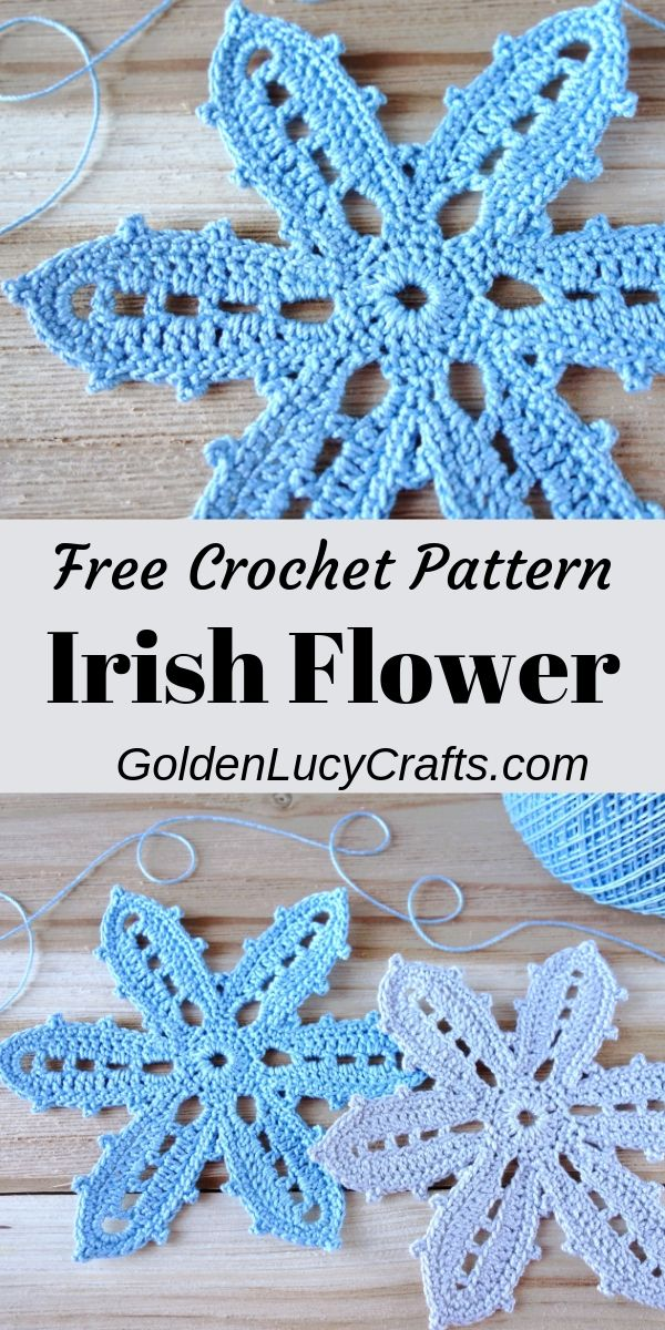 Irish Crochet Flower, Irish Lace, Irish Crochet Motif #irishlace Learn how to make this beautiful crochet Irish flower, Irish lace motif. Free tutorial. #irishcrochet, #irishcrochetlace, #crochetflowers #irishcrochetmotifs