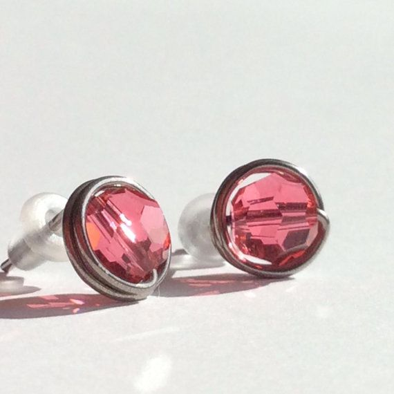 Hypo Allergenic Earrings 9mm Niobium Stud Indian Pink Swarovski Crystal Post Free Shipping To Canada And Usa