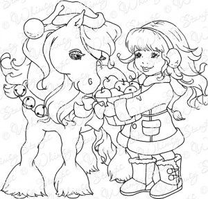 Christmas Pony | Horse coloring pages, Whimsy stamps ...