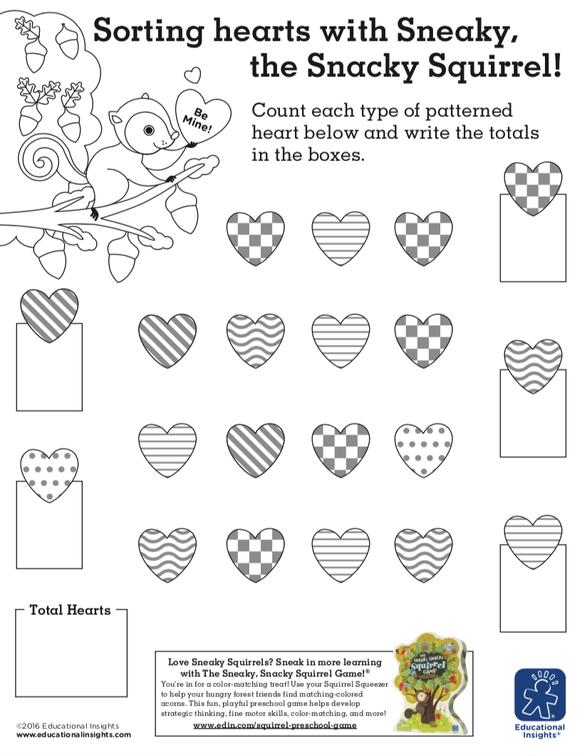 Free Adorable Activity Worksheets For Kids Sorting Hearts With Sneaky Snacky Squirrel Activity Sheets For Kids Valentine Worksheets Math Valentines [ 1061 x 817 Pixel ]