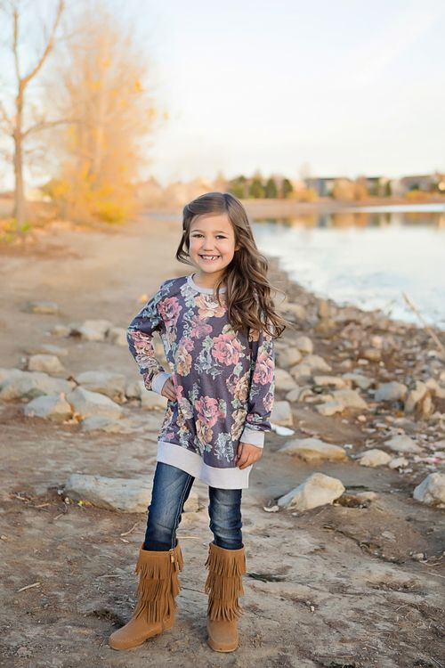 9d5f5f0c2a Little Girls Floral Sweater- Navy. Ryleigh Rue Clothing. Mommy & Me ...