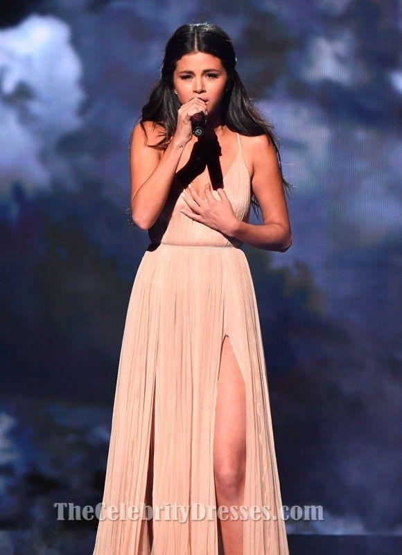 45f82044b27 Selena Gomez Champagne Evening Prom Dress 2014 American Music Awards ...