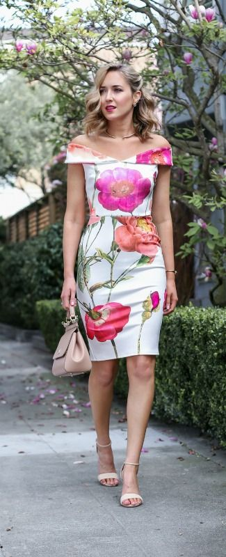 05363950f087 What to wear on Mother s Day  floral off the shoulder knee length dress