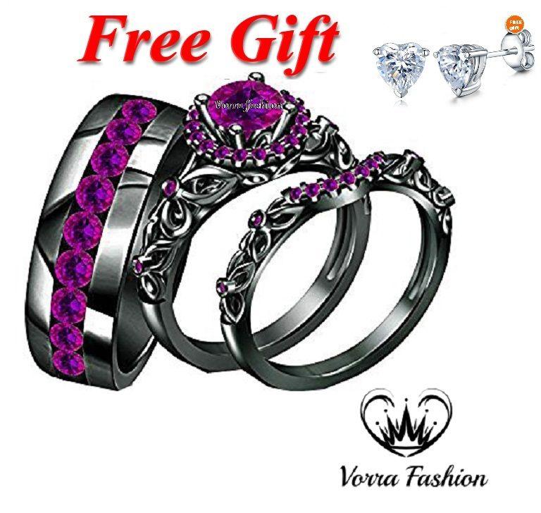 14k Black Gold Plated 925 Silver Purple Amethyst Trio Wedding Bridal Ring Set Black Gold Jewelry Purple Engagement Rings Black Wedding Rings
