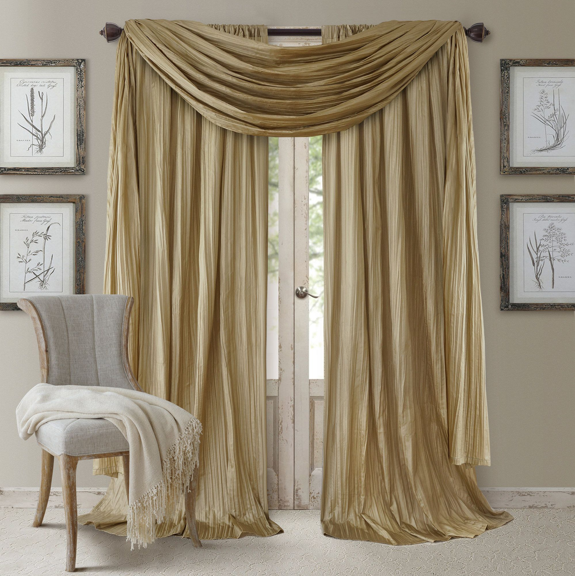 from polyester living pleated curtain decoration room blackout in beige high window shading solid grey home brown curtains kitchen treatments item pair