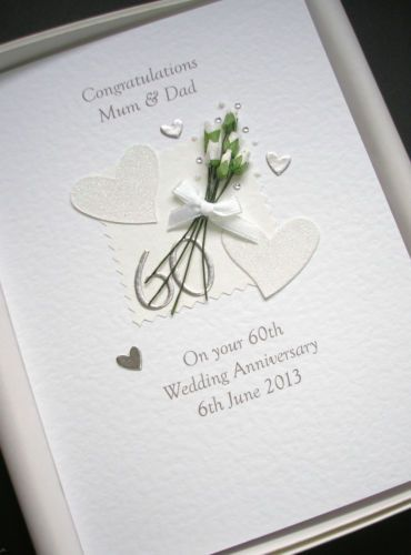 Details About 60th Anniversary Card Personalised Diamond Wedding