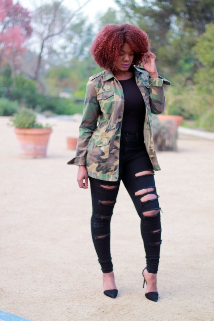b16c806e13f54 Outfit Inspiration: Oversized Camo Jacket & Ripped Jeans http://www.