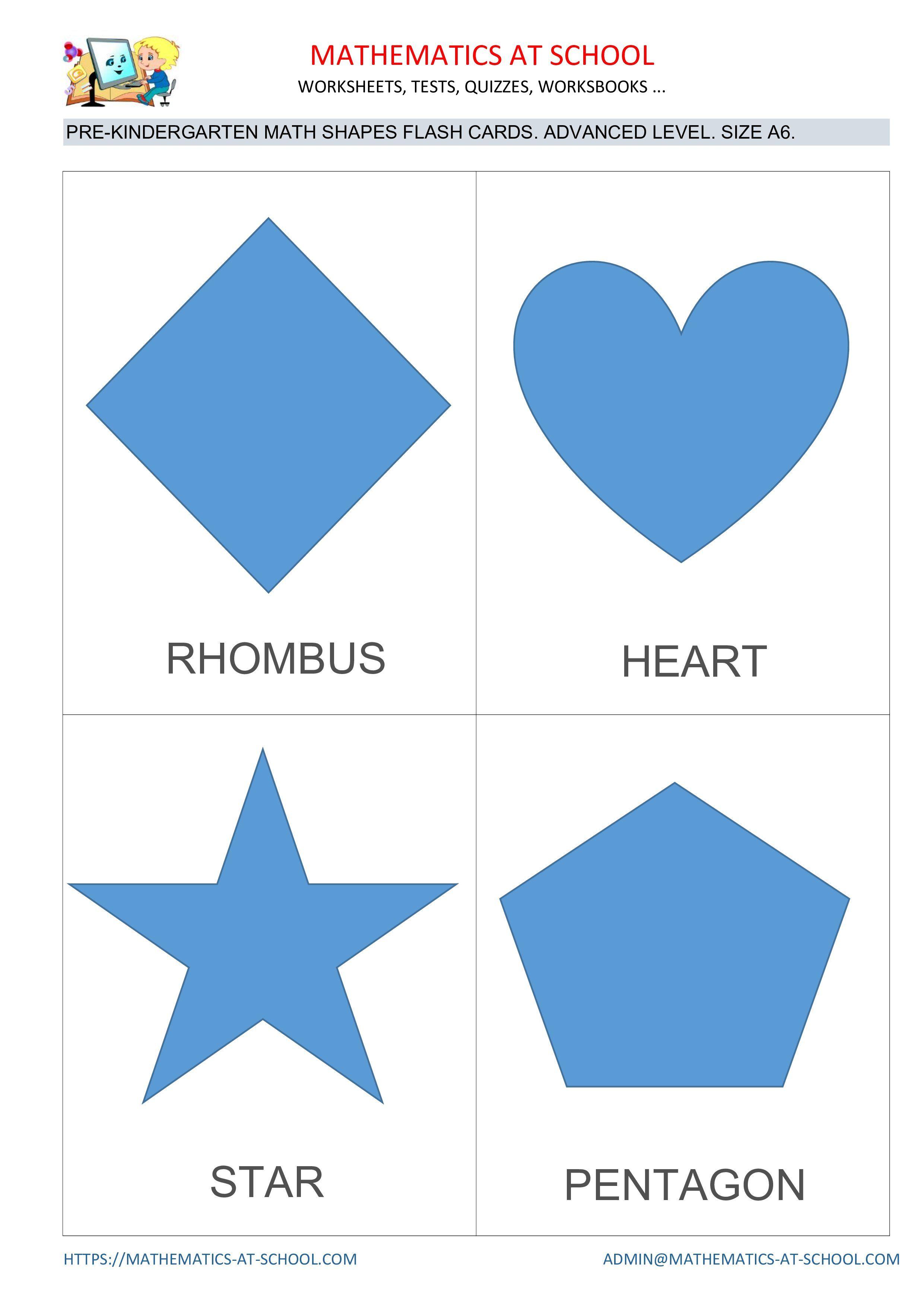 Pre Kindergarten Math Flash Cards Shapes Circle Square