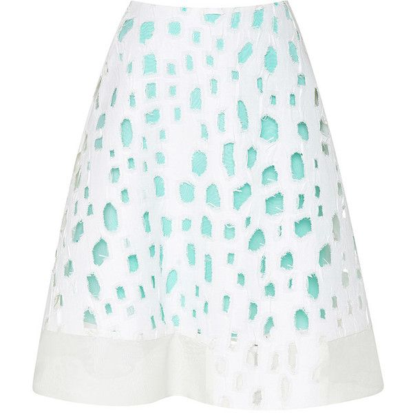 Prabal Gurung Organic Cutout Flared Skirt (16 935 ZAR) ❤ liked on Polyvore featuring skirts, white circle skirt, white skirt, white cut out skirt, high rise skirts and white flared skirt