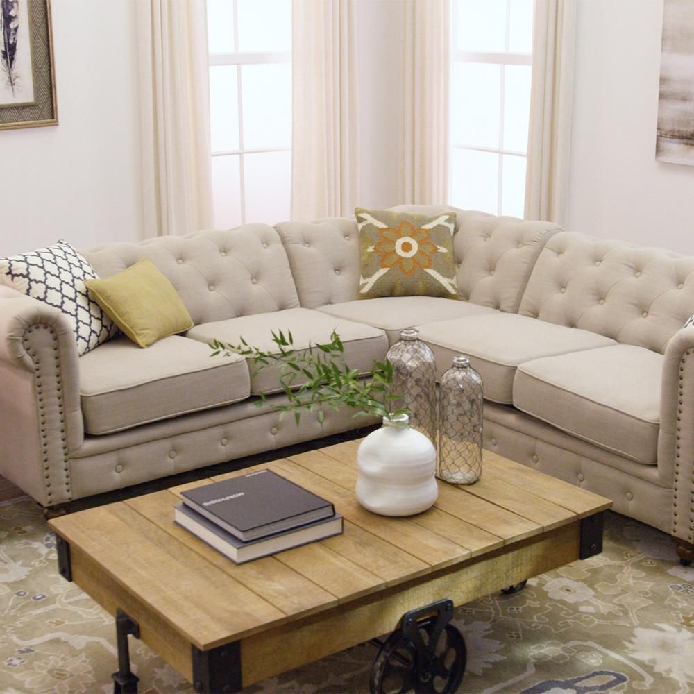 Home Decorators Collection Gordon 3 Piece Natural Linen 4 Seater L Shaped Sectional Sofa With Casters 8061000400 The Home Depot Home Decorators Collection Sectional Sectional Sofa