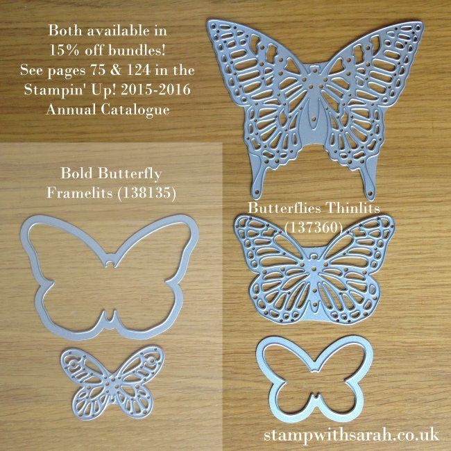 Stamp with Sarah Berry Stampin Up UK - Comparison Bold Buttterfly Framelits & Butterflies Thinlits