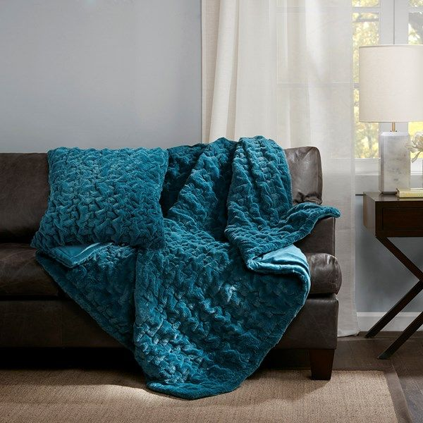 The Ruched Fur Square Pillow Features The Softness Of Faux Fur And Reverses To An Ultra Soft Solid Throw Blanket Teal Throw Pillows Faux Fur Throw Blanket Grey