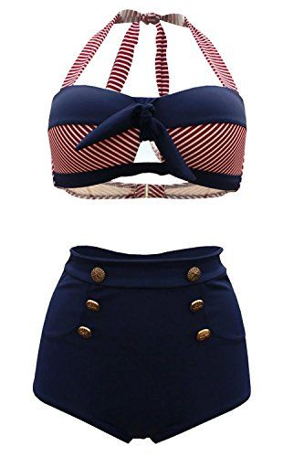 d74bb85ef0661 Welity Nautical Sailor High Waisted Pin Up Bandeau Swimsuit Bathing Suit  Navy, Navy, 2XL(US 10-12)
