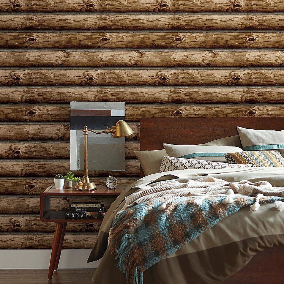 Roommates Peel & Stick Cabin Logs Wallpaper In Brown in ...