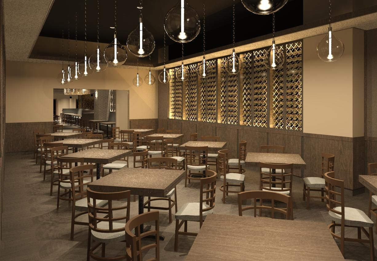 A rendering of the dining area in Brandi Pizzaria\'s new location in ...