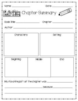 Book Report Chapter Summary Book Report Reading Summary