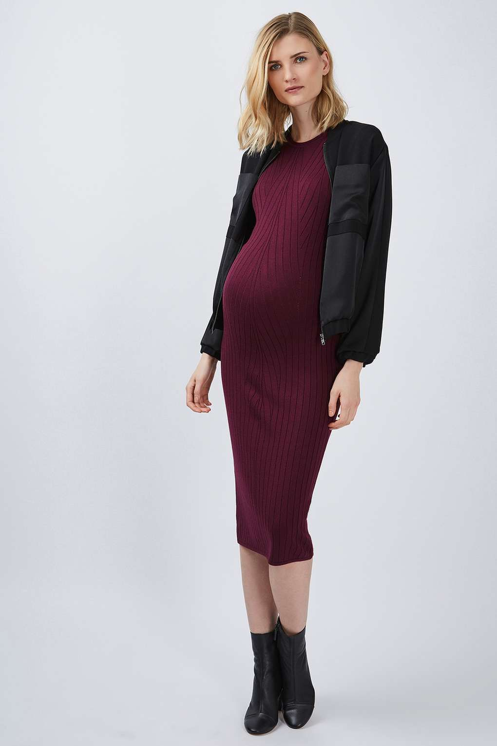 Maternity travelling rib midi dress maternity clothing midi