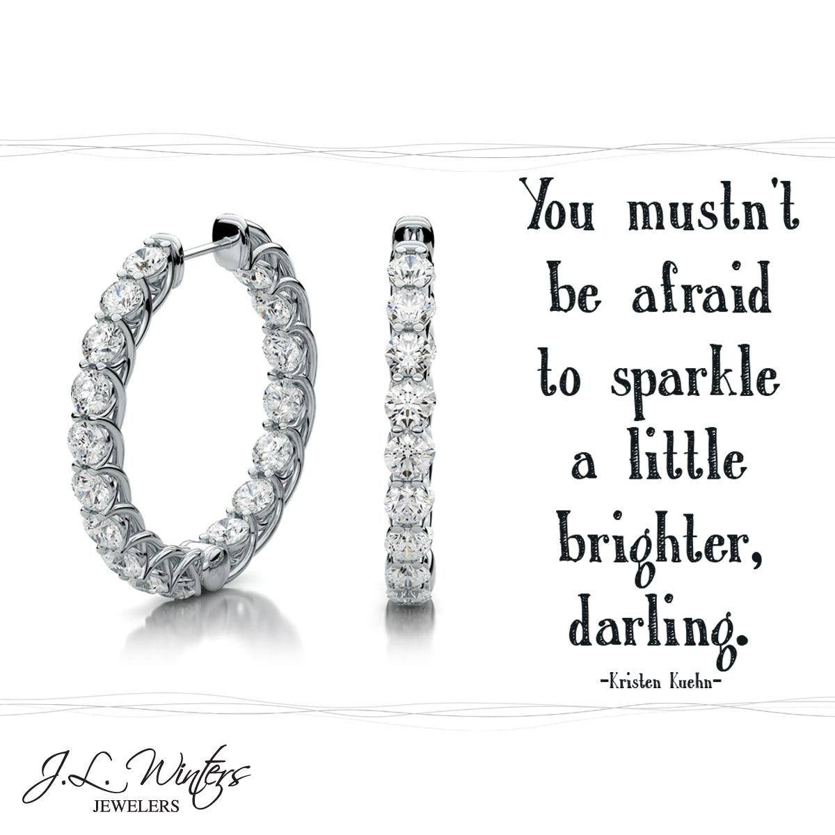 What makes you sparkle? #Sparkle #Diamonds #HoopEarrings