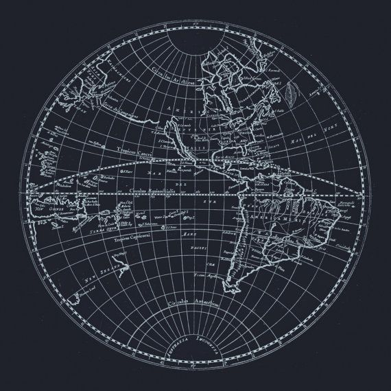ANTIQUE WORLD MAP - Blueprint World Map Print, Minimalist Map - new old blueprint art