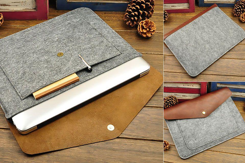 68a7d5d71071 Недорогой чехол для ноутбука из фетра и кожи | сумка | Leather ...