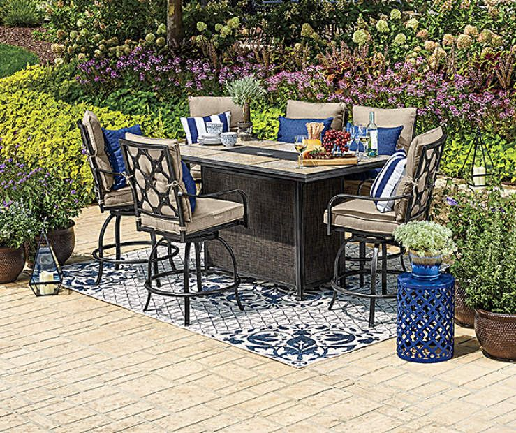 Wilson Fisher Stoneridge 7 Piece High Top Dining Set With Fire