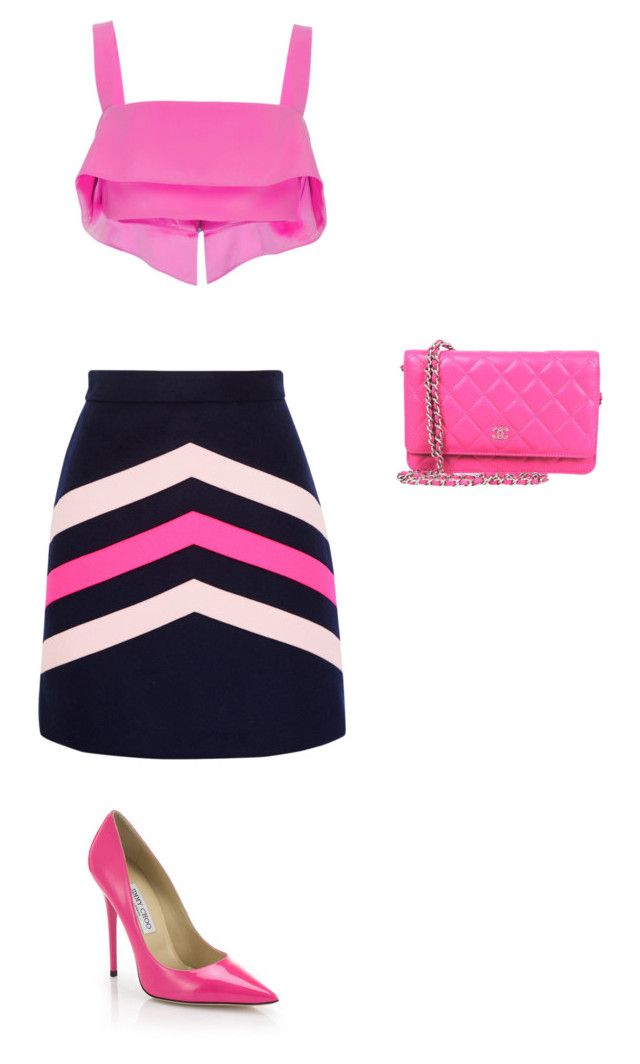 """""""Untitled #22"""" by thisagiperera ❤ liked on Polyvore featuring MSGM, Cushnie Et Ochs and Jimmy Choo"""