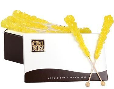 Yellow Rock Candy Crystal Sticks - Lemon