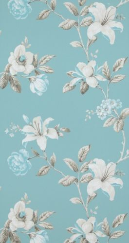vlies tapete florales blumen muster blau tuerkis creme braun summer breeze 17882 prints. Black Bedroom Furniture Sets. Home Design Ideas