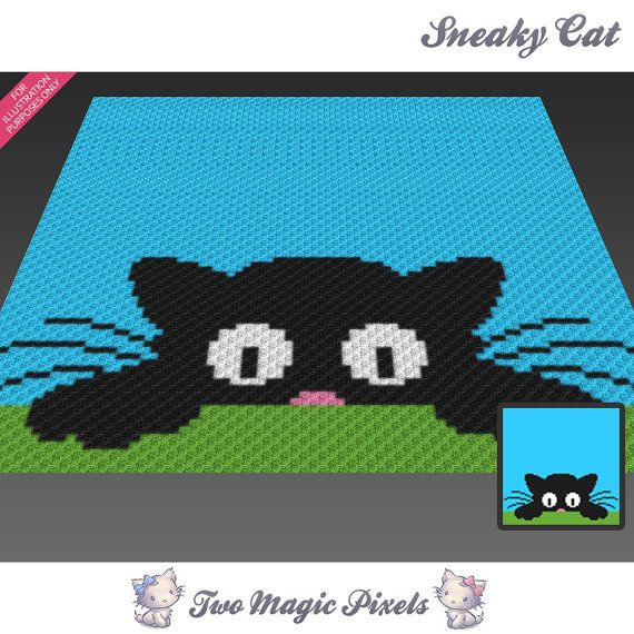 Sneaky Cat crochet blanket pattern knitting by TwoMagicPixels | C2C ...