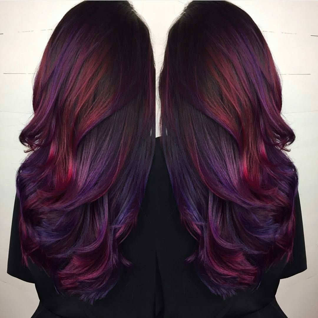 Purple red dark hair photo images